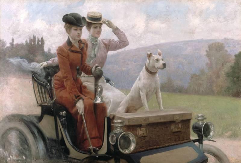 Julius_LeBlanc_Stewart_-_Les_Dames_Goldsmith_au_bois_de_Boulogne_en_1897_sur_une_voiturette